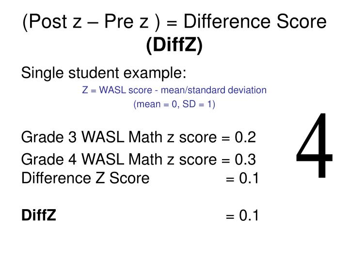 (Post z – Pre z ) = Difference Score