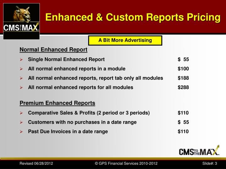 Enhanced custom reports pricing