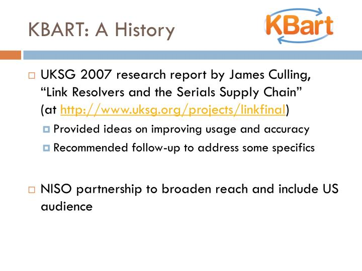 KBART: A History