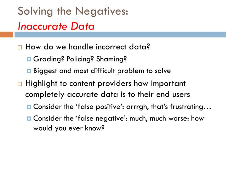 Solving the Negatives: