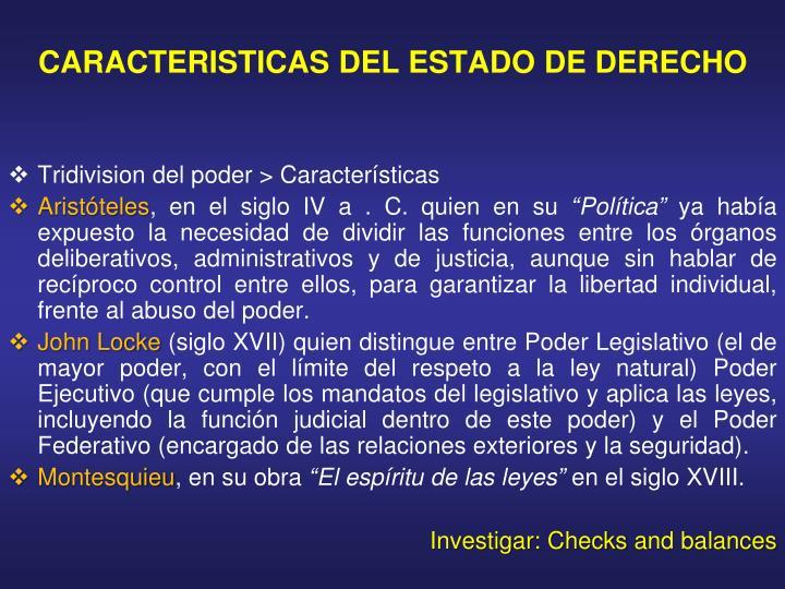 CARACTERISTICAS DEL ESTADO DE DERECHO