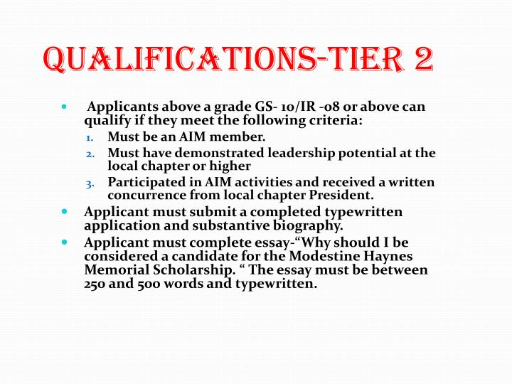 Qualifications-Tier 2