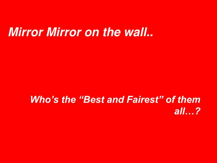 Mirror Mirror on the wall..