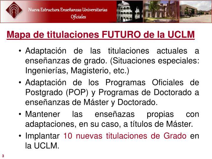 Mapa de titulaciones FUTURO de la UCLM