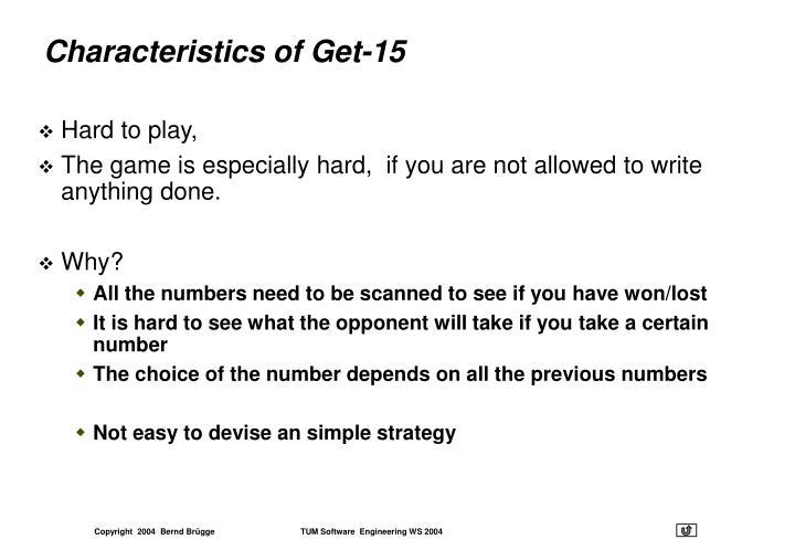 Characteristics of Get-15