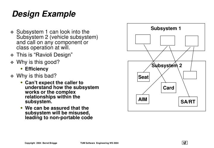 Subsystem 1 can look into the Subsystem 2 (vehicle subsystem) and call on any component or class operation at will.