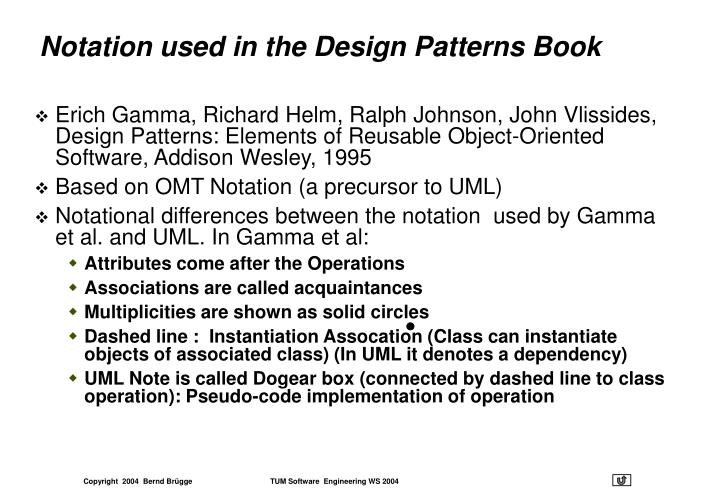 Notation used in the Design Patterns Book