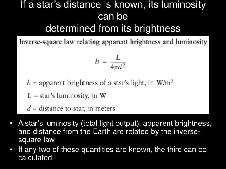 If a star's distance is known, its luminosity can be
