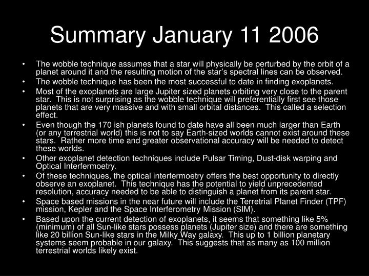 Summary january 11 2006