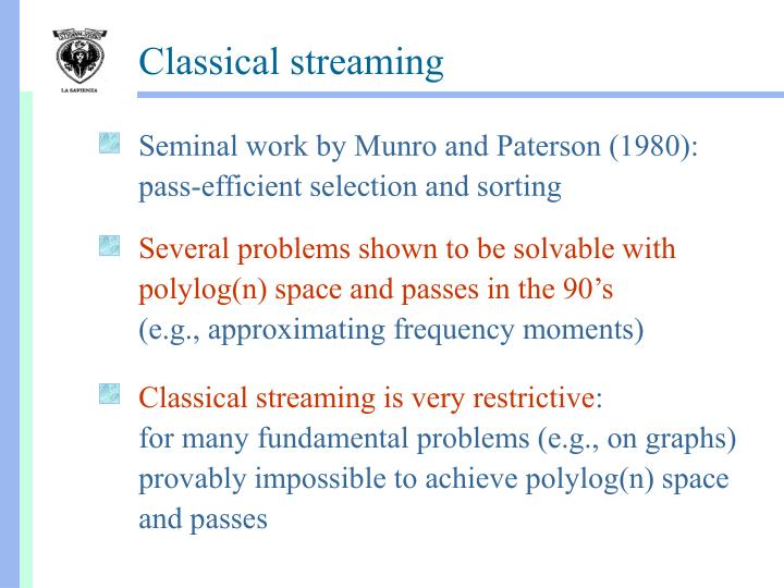 Seminal work by Munro and Paterson (1980): pass-efficient selection and sorting