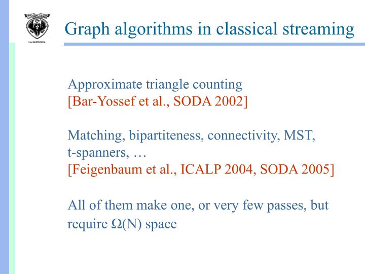Graph algorithms in classical streaming