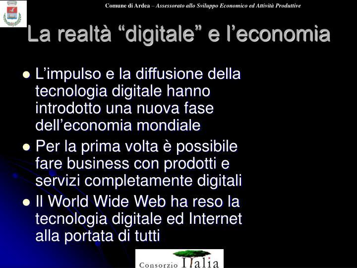 """La realtà """"digitale"""" e l'economia"""