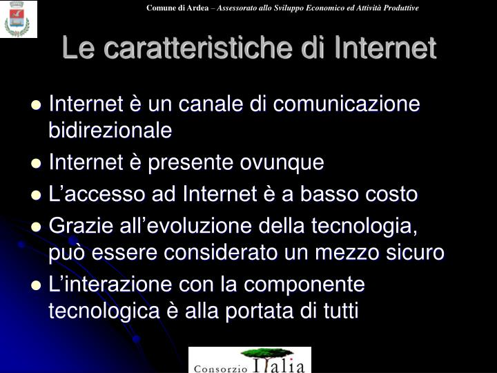 Le caratteristiche di Internet