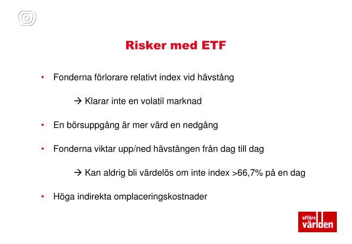Risker med ETF