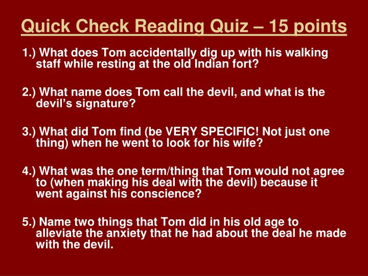 Quick check reading quiz 15 points