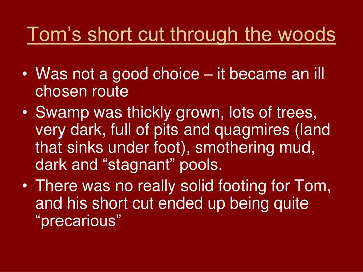 Tom's short cut through the woods