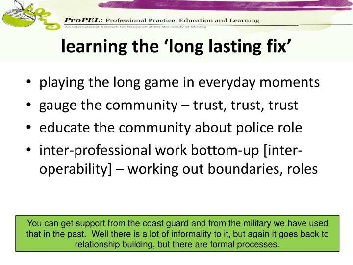 learning the 'long lasting fix'