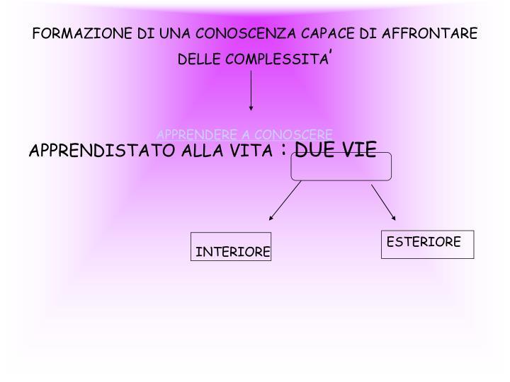 FORMAZIONE DI UNA CONOSCENZA CAPACE DI AFFRONTARE DELLE COMPLESSITA