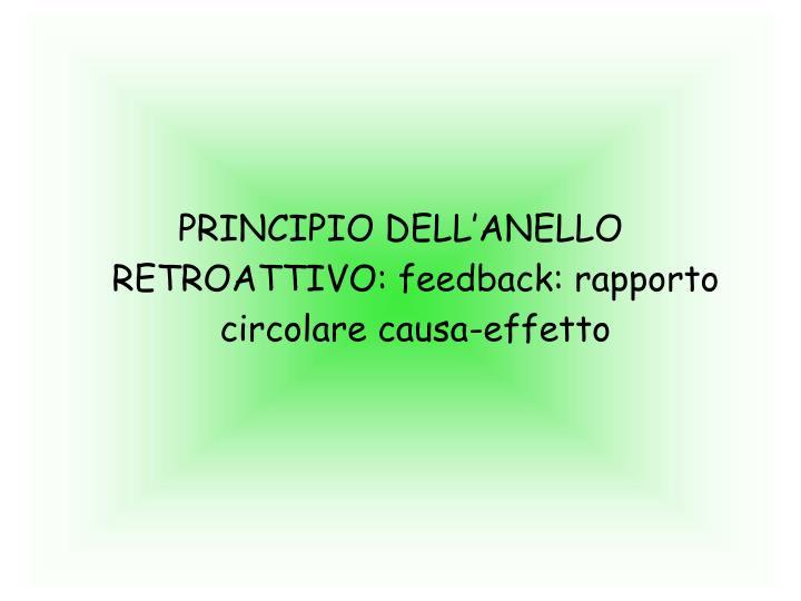 PRINCIPIO DELL'ANELLO RETROATTIVO: feedback: rapporto circolare causa-effetto