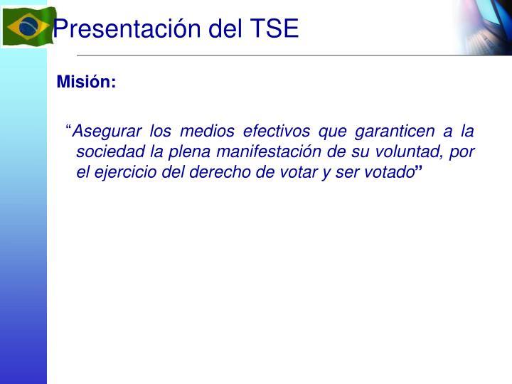 Presentación del TSE