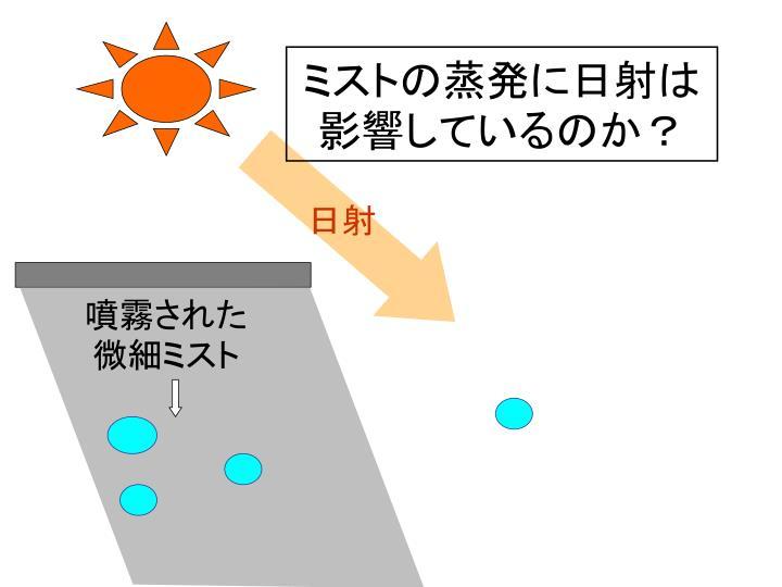 ミストの蒸発に日射は影響しているのか?