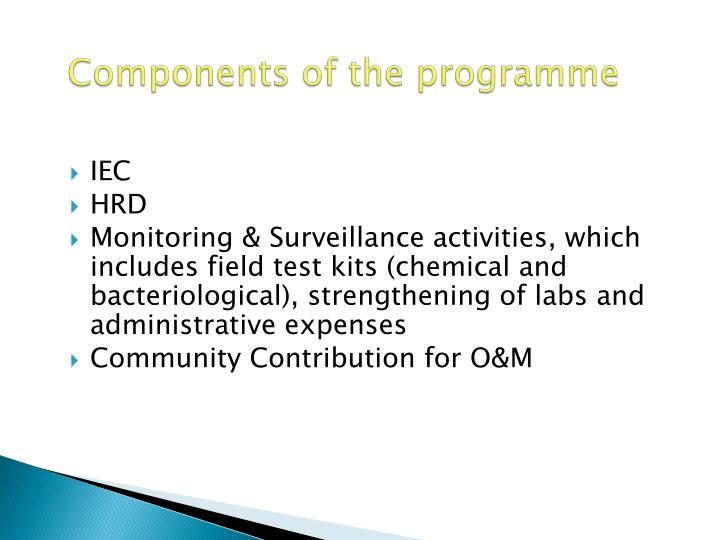 Components of the programme