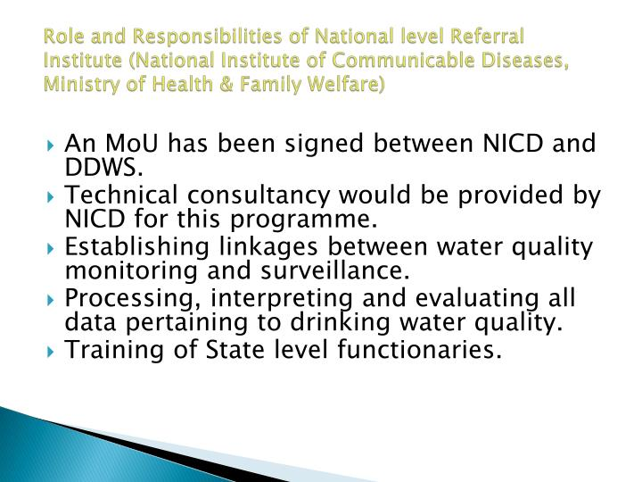 Role and Responsibilities of National level Referral Institute (National Institute of Communicable Diseases, Ministry of Health & Family Welfare)