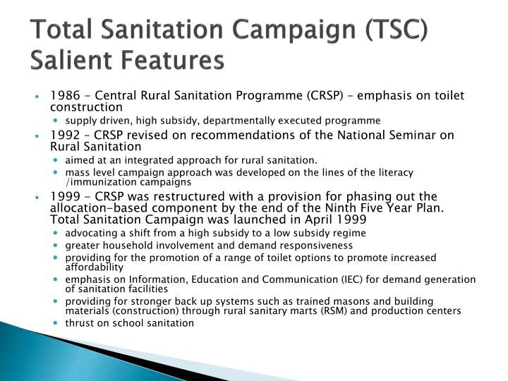 Total sanitation campaign tsc salient features