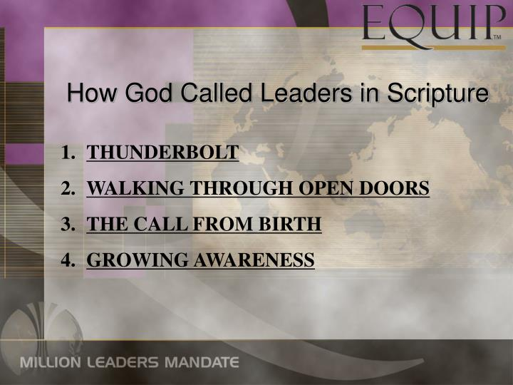 How God Called Leaders in Scripture
