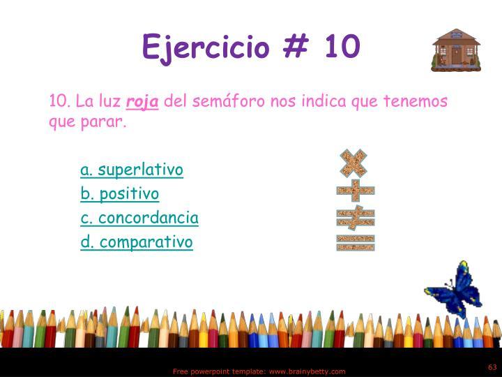 Ejercicio # 10