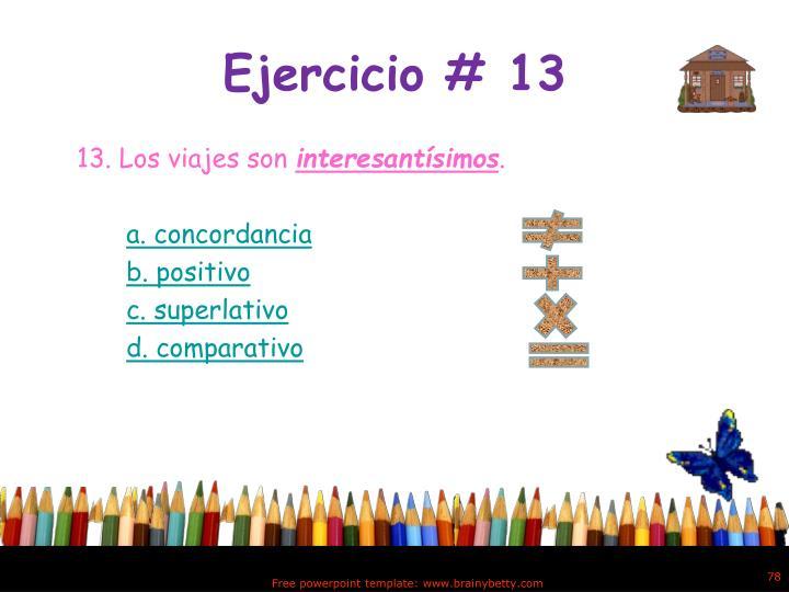 Ejercicio # 13