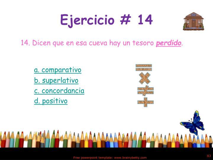 Ejercicio # 14