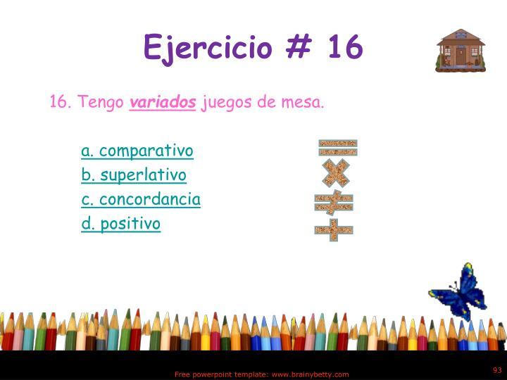 Ejercicio # 16