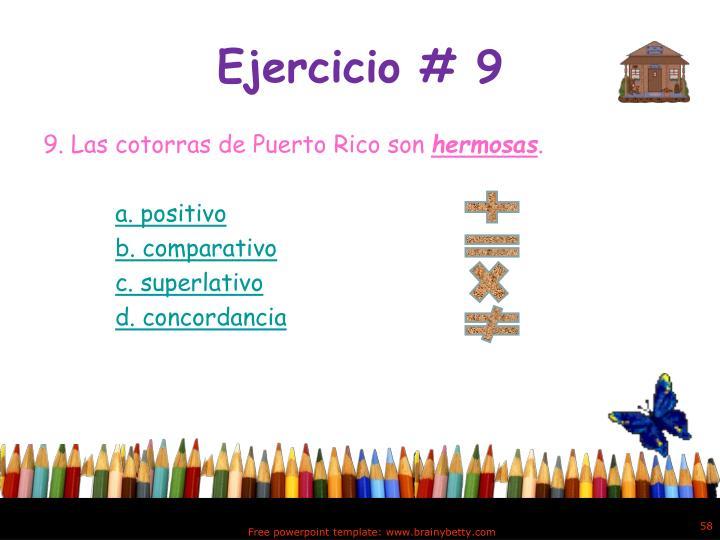 Ejercicio # 9