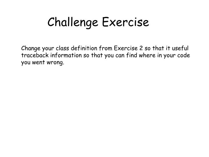 Challenge Exercise
