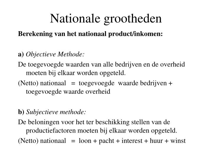 Nationale grootheden