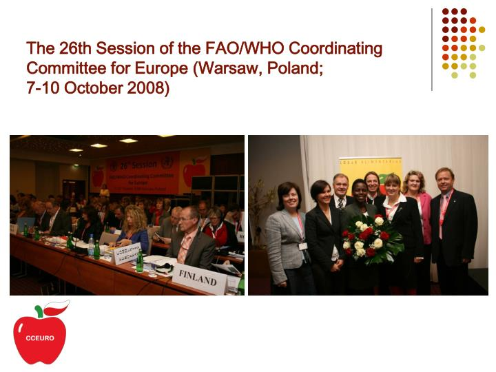 The 26th Session of the FAO/WHO Coordinating Committee for Europe