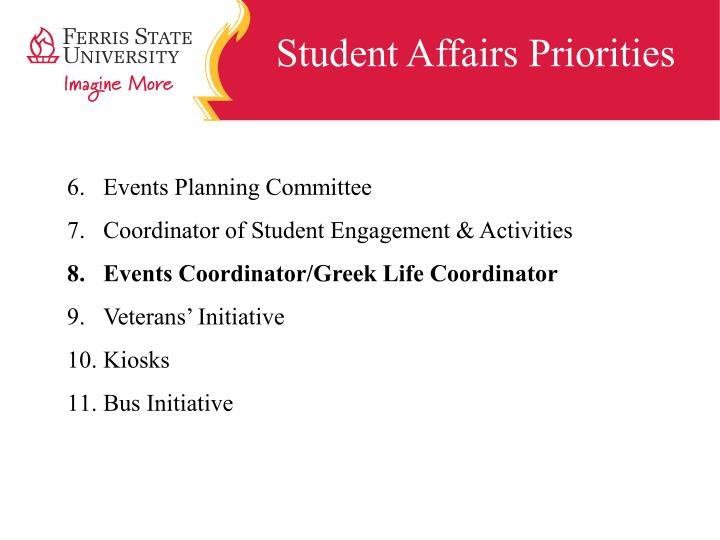 Student Affairs Priorities