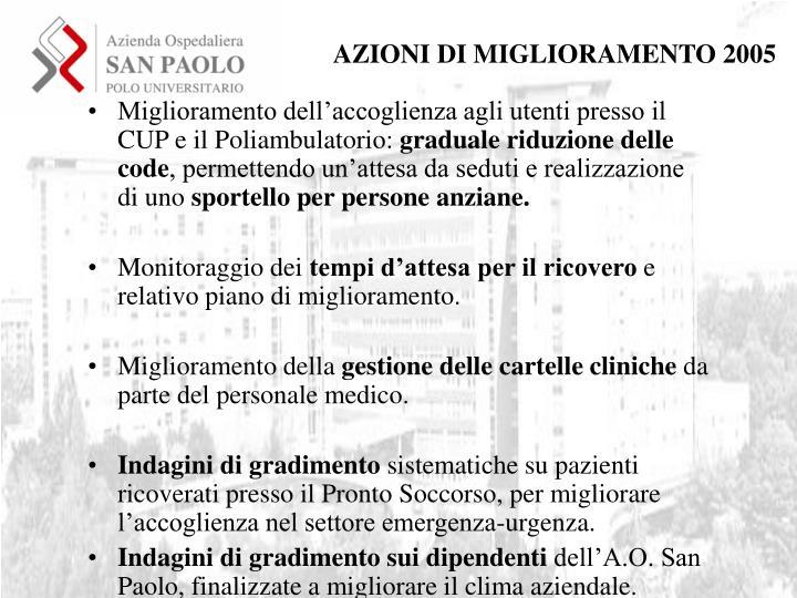 AZIONI DI MIGLIORAMENTO 2005