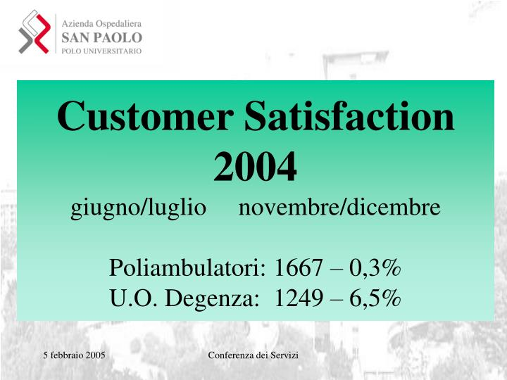 Customer Satisfaction 2004
