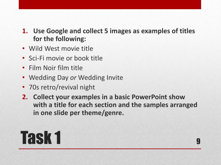 Use Google and collect 5 images as examples of titles for the following: