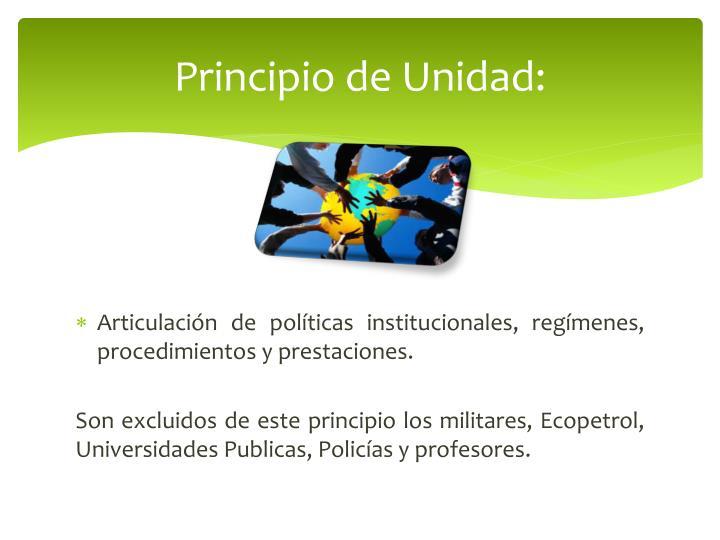 Principio de Unidad: