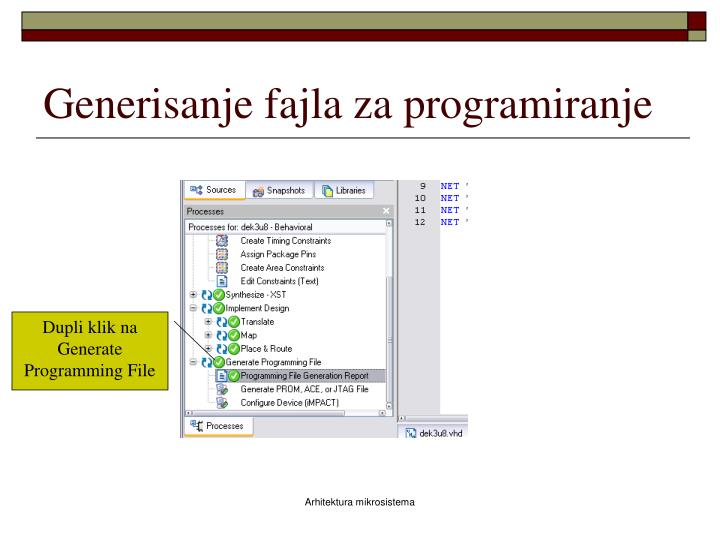 Generisanje fajla za programiranje