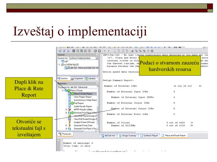 Izveštaj o implementaciji