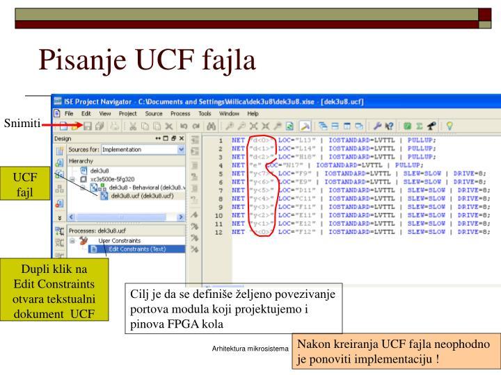 Pisanje UCF fajla