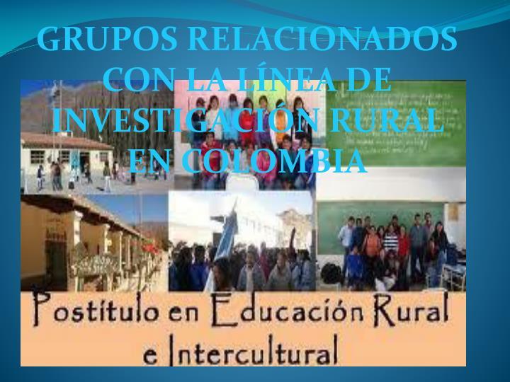 GRUPOS RELACIONADOS CON LA LÍNEA DE INVESTIGACIÓN RURAL EN COLOMBIA