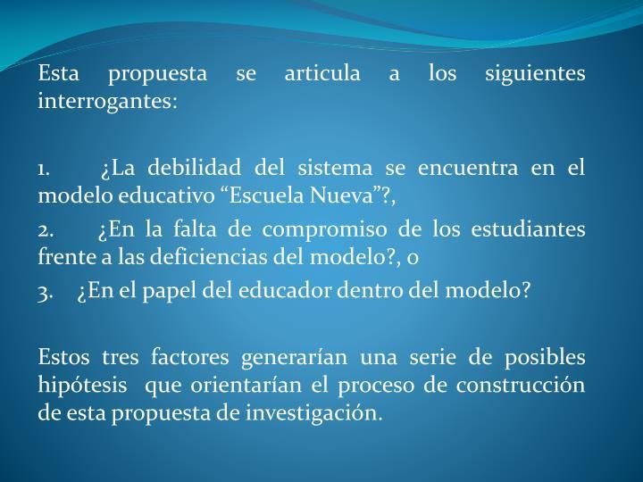Esta propuesta se articula a los siguientes interrogantes:
