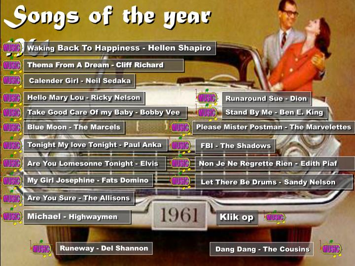 Songs of the year 1961