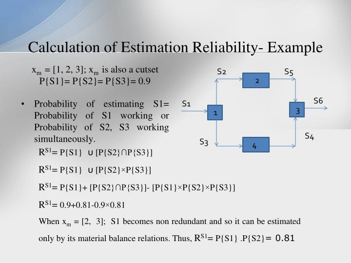Calculation of Estimation Reliability- Example