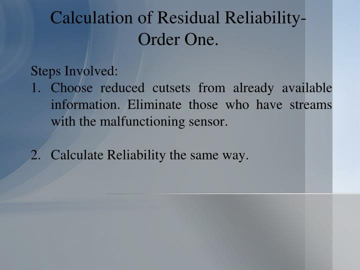 Calculation of Residual Reliability- Order One.